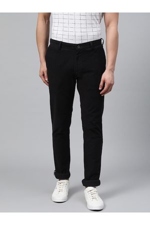 Blackberrys Men Black Slim Fit Textured Regular Trousers