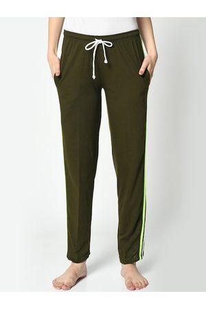 VIMAL JONNEY Women Olive-Green Solid Lounge Pants