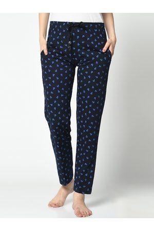 VIMAL JONNEY Women Navy Blue & Blue Printed Lounge Pants