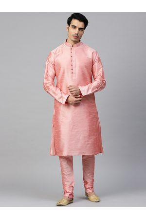 MANQ Men Pink Solid Kurta with Churidar