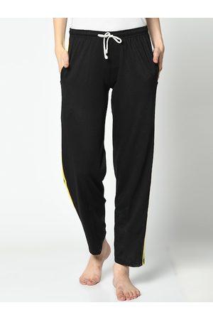 VIMAL JONNEY Women Black & Yellow Solid Lounge Pants