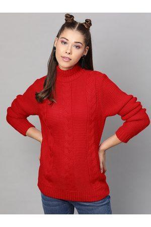 STREET 9 Women Red Self Design Pullover Sweater