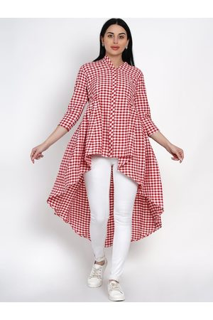 FABNEST Women Red & White Checked Tunic