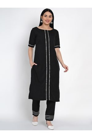 FABNEST Women Black Solid Kurta with Trousers