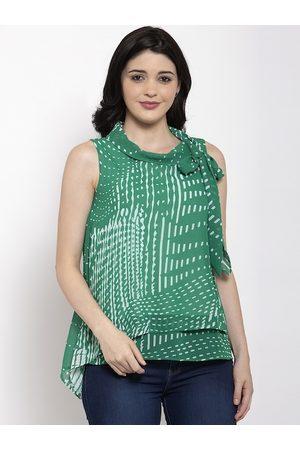 Aujjessa Women Green Printed Top