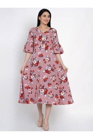 FABNEST Women Pink Printed Fit and Flare Dress