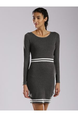 HRX Grey Bodycon Knitted Sweater Dress