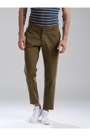Hubberholme Men Olive Green Slim Fit Solid Regular Trousers