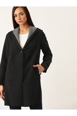 Ether Women Black Solid Single-Breasted Hip Length Hooded Overcoat