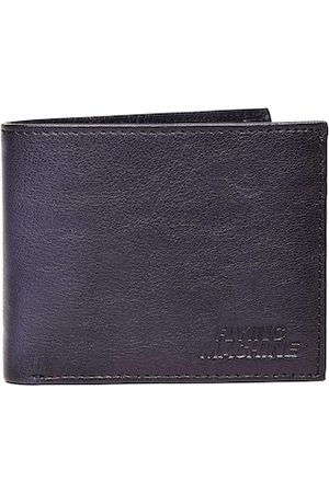 Flying Machine Men Navy Blue Solid Leather Two Fold Wallet