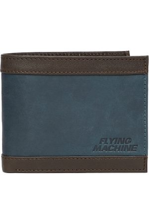 Flying Machine Men Navy Blue & Brown Solid Leather Two Fold Wallet