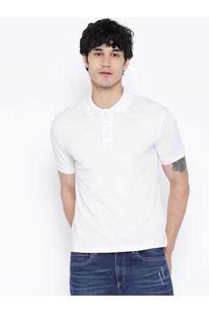 CHKOKKO Men White Solid Polo Collar T-shirt