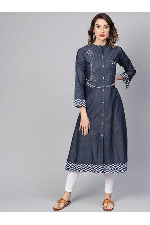 Yash Gallery Women Navy Blue Embroidered Denim A-Line Kurta
