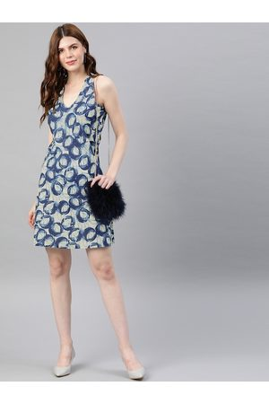Yash Gallery Women Blue Dyed A-Line Dress