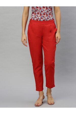 Yash Gallery Women Red Straight Fit Solid Cropped Cigarette Trousers