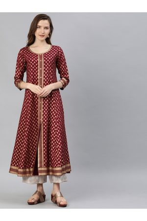 Yash Gallery Women Burgundy & Gold-Toned Printed A-Line Kurta With Button Detail