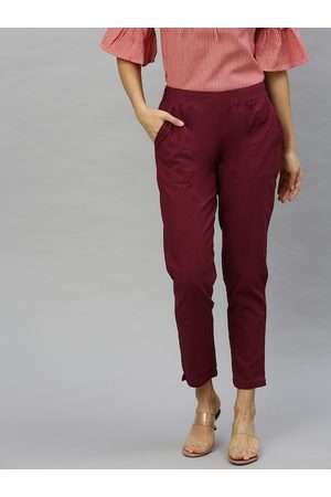 Yash Gallery Women Maroon Straight Fit Solid Cigarette Cropped Trousers