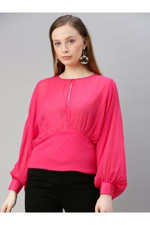 Sera Women Fuchsia Pink Solid Bishop Sleeved Blouson Top