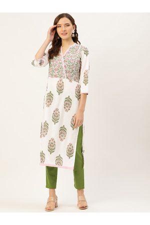 Jaipur Women White & Green Printed Kurta with Trousers