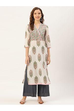 Jaipur Women Off-White & Pink Printed Straight Kurta