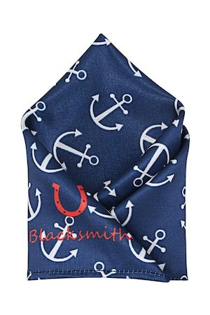 Blacksmith Men Navy Blue & White Printed Pocket Square