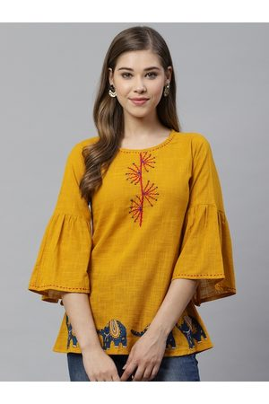 Yash Gallery Women Mustard Yellow Applique Detail A-Line Top