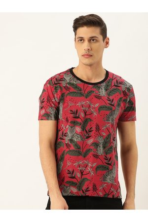 Moda Rapido Men Red & Grey Printed Round Neck T-Shirt