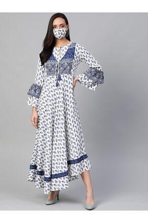 Yash Gallery Women White & Blue Printed Maxi Dress With Matching Mask