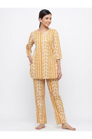 Jaipur Women Mustard Yellow & White Printed Night suit