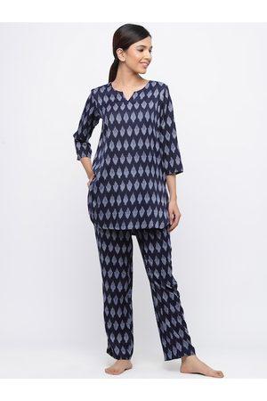 Jaipur Women Navy Blue Printed Night suit