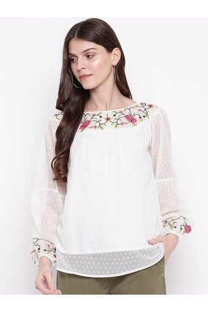 Mayra Women White Self Design Top
