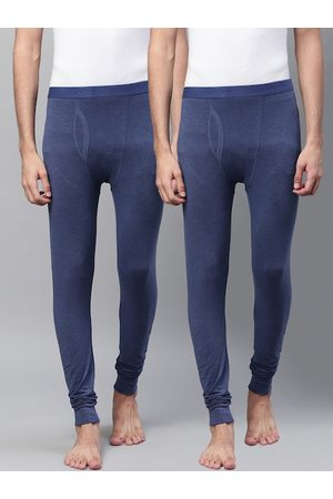 Marks & Spencer Men Pack of 2 Blue Ribbed Joggers Thermal Bottoms