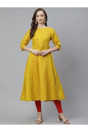 Bhama Couture Women Mustard Yellow & Red Quirky Print Anarkali Kurta