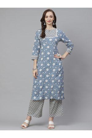 Bhama Couture Women Blue & White Printed Kurta with Palazzos