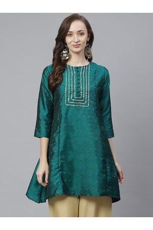 Bhama Couture Women Green & Golden Silk Self Design Tunic