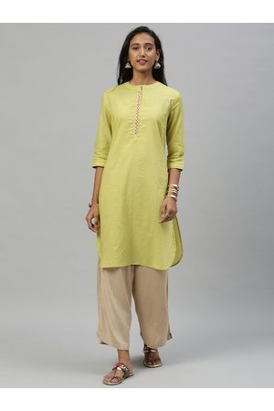 Anouk Women Lime Green Solid Straight Kurta