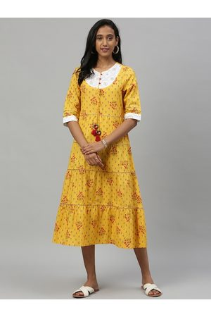 Anouk Women Mustard Yellow Printed Fit and Flare Dress