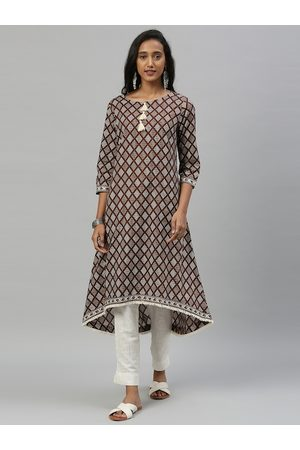 Anouk Women Coffee Brown & White Printed A-Line Kurta