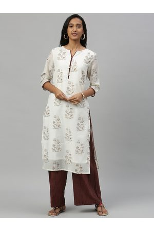 Anouk Women White & Beige Printed Kurta with Palazzos