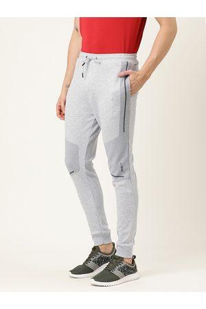 Proline Men Grey Melange Solid Slim Fit Joggers with Print Detail