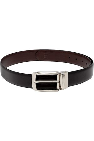 Carlton London Men Black & Brown Leather Textured Reversible Belt