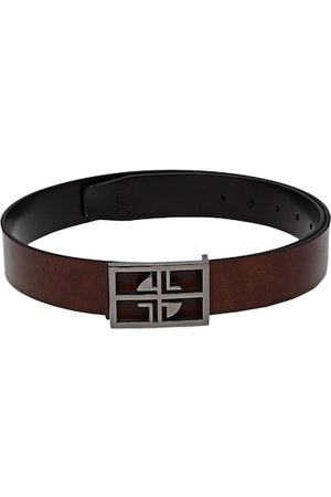 Carlton London Men Brown & Black Reversible Leather Solid Belt
