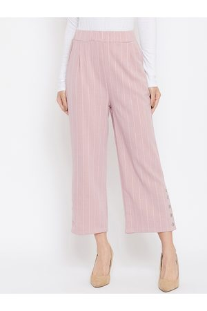 Crimsoune Club Women Pink Relaxed Regular Fit Striped Parallel Trousers