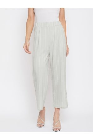 Crimsoune Club Women Grey Relaxed Regular Fit Striped Parallel Trousers