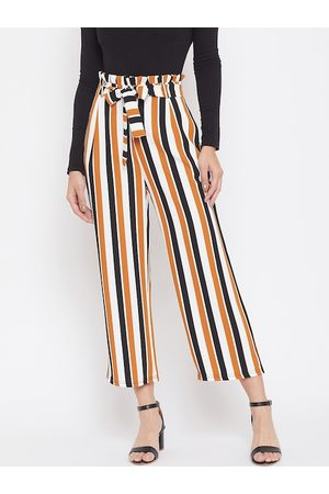 Crimsoune Club Women Yellow & White Relaxed Regular Fit Striped Parallel Trousers