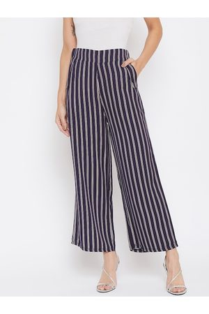 Crimsoune Club Women Navy Blue Relaxed Regular Fit Striped Parallel Trousers