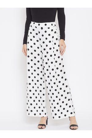 Crimsoune Club Women White Regular Fit Printed Parallel Trousers