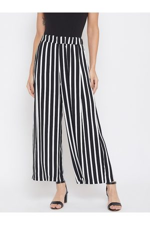 Crimsoune Club Women Black & White Relaxed Regular Fit Striped Parallel Trousers