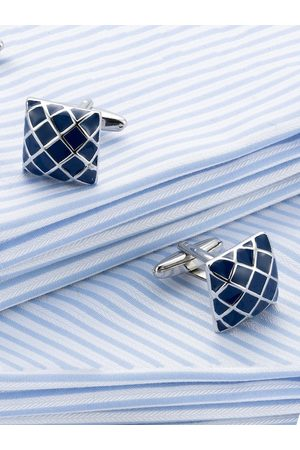 Yellow Chimes Jewellery Navy Blue & Silver-Toned Square Cufflinks