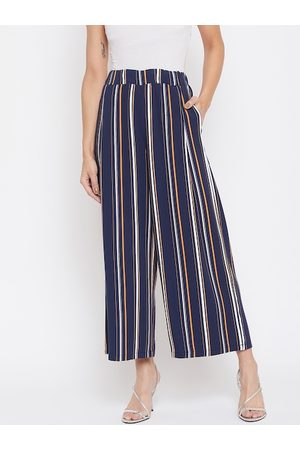 Crimsoune Club Women Navy Blue & White Relaxed Regular Fit Striped Parallel Trousers